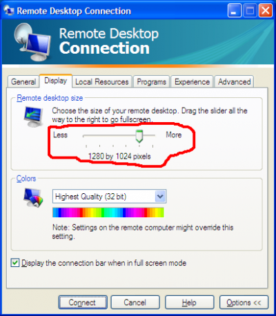 Remote desktop size
